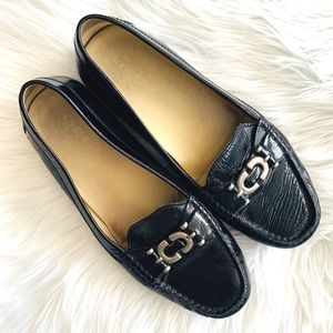 Geox Black Leather Loafer Flats